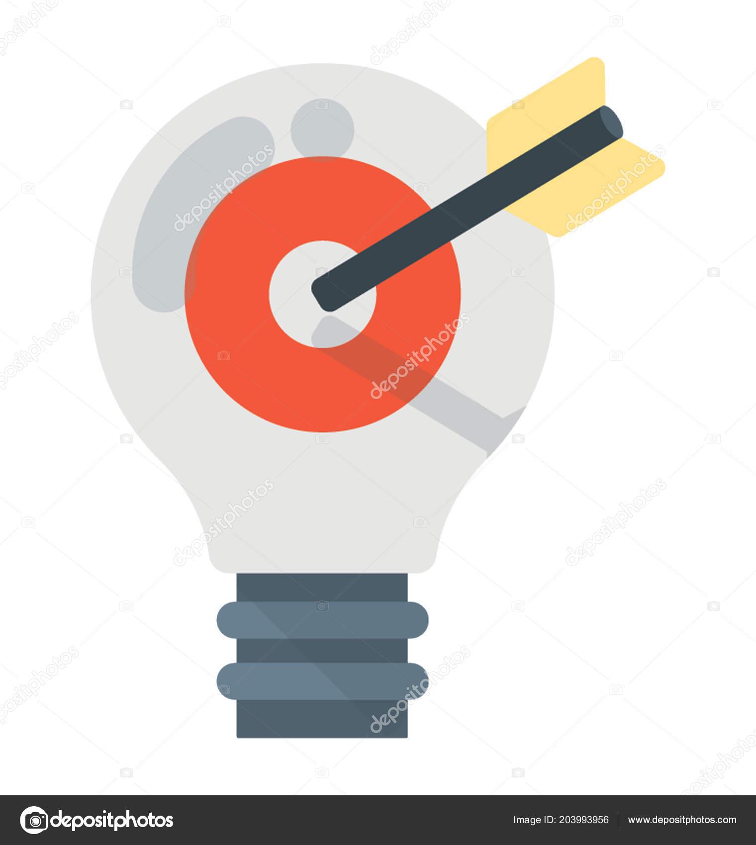 Arrow Hitting Target Light Bulb Giving Meaning Define Goal Concept