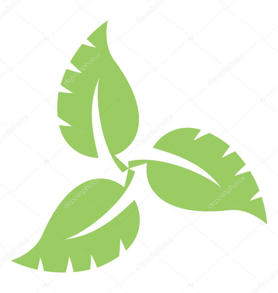 Three leaves attached together showing swirl leaves icon