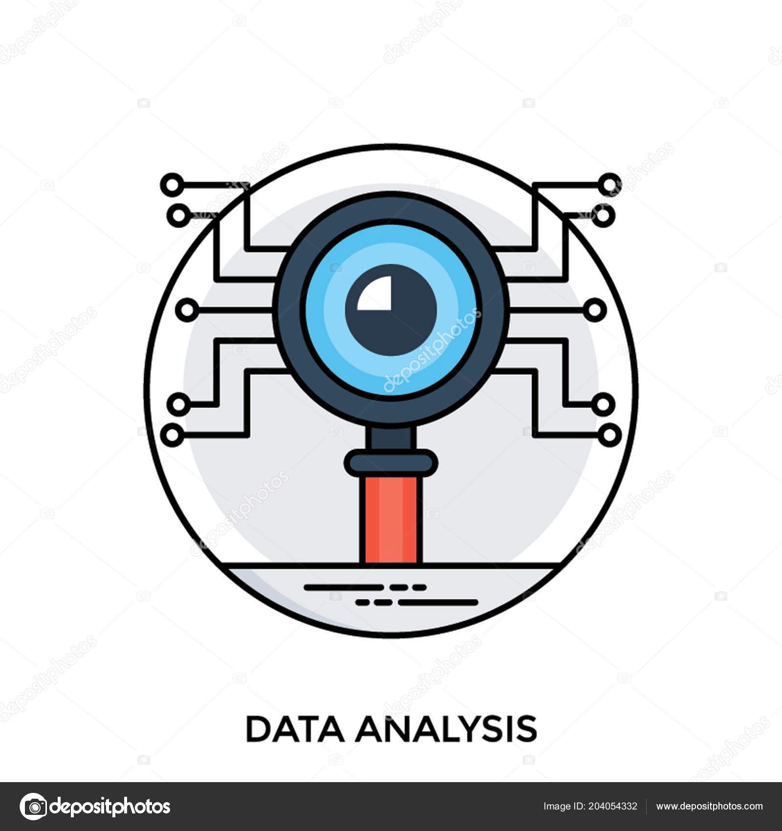 Circuit Board Print Magnifying Glass Lens Data Analysis Icon Vector Vetores De Stock