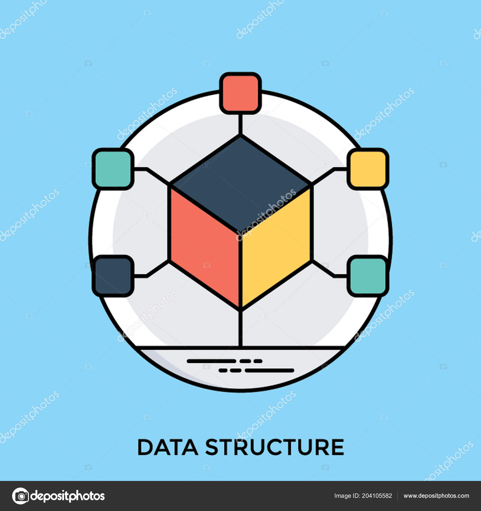 cube attached nodes all corners showing data structure icon stock vector c vectorsmarket 204105582 https depositphotos com 204105582 stock illustration cube attached nodes all corners html