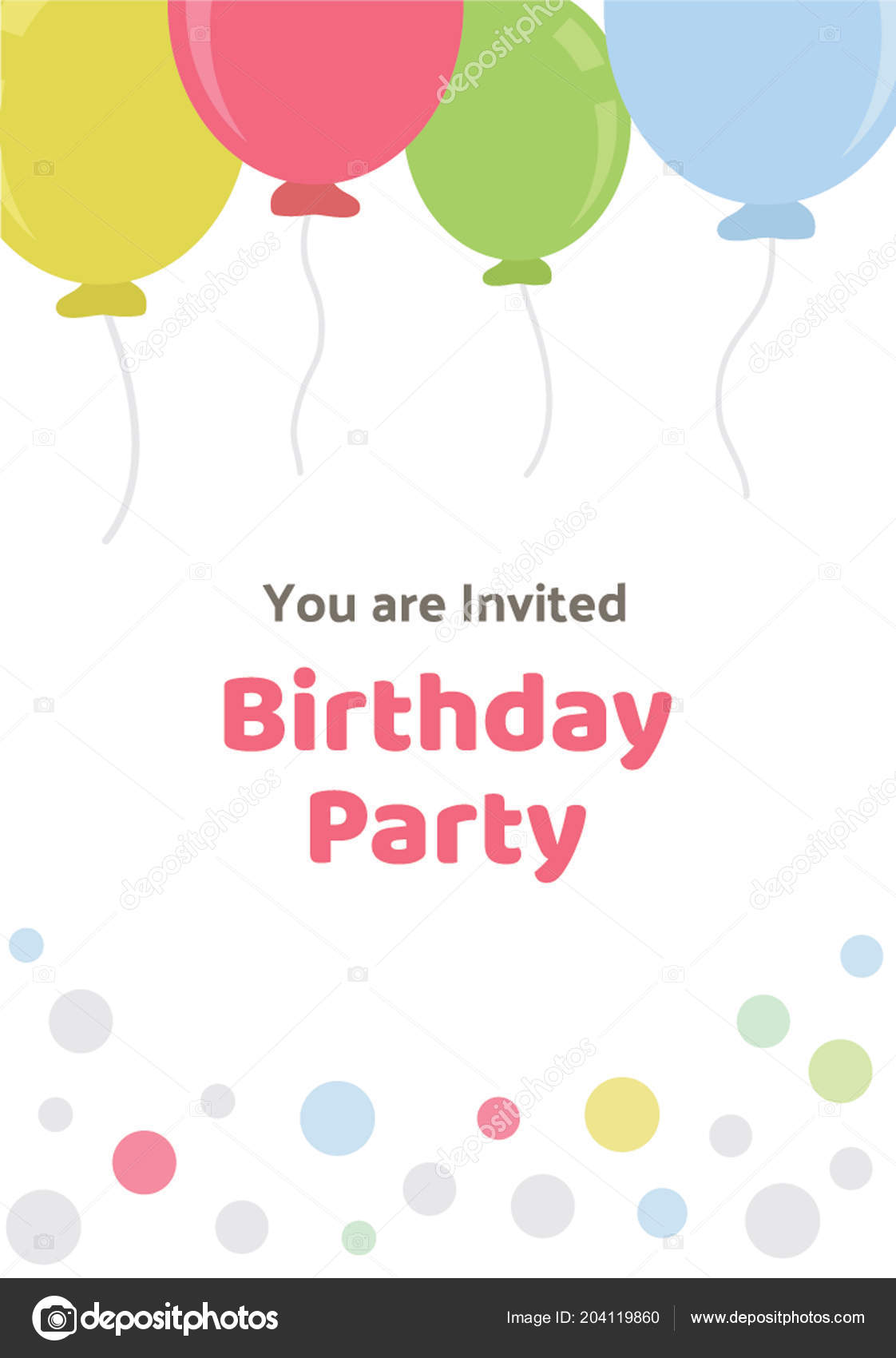 Card Balloons Bubble Design Written Text Invitation Representing ...