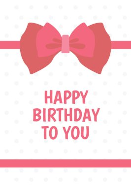 A plain white car having design of pink bow and birthday greeting text depicting birthday card