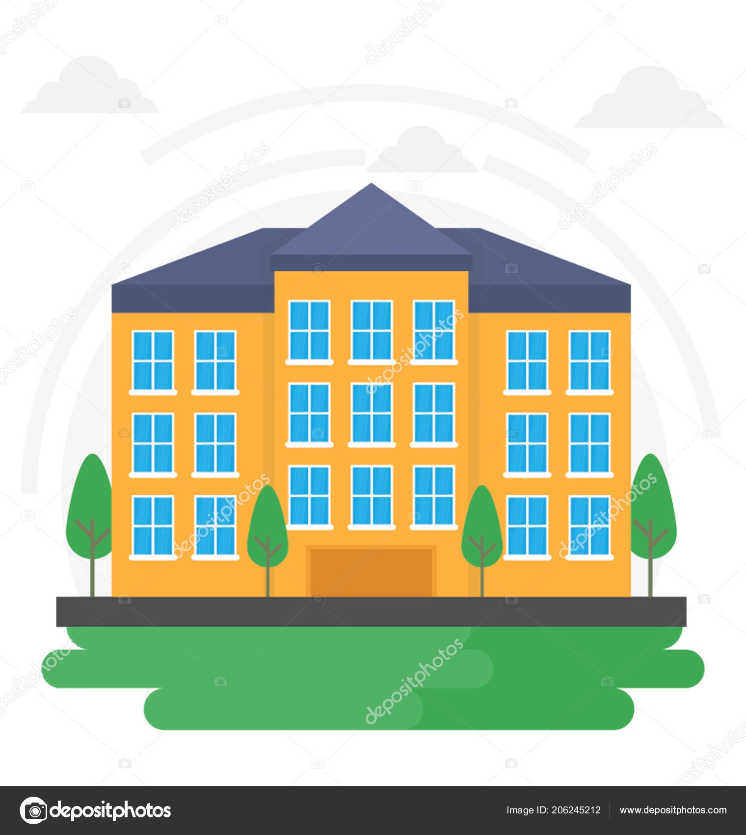 Une Maison Habitation Luxe Une Maison Plain Pied — Image vectorielle ...