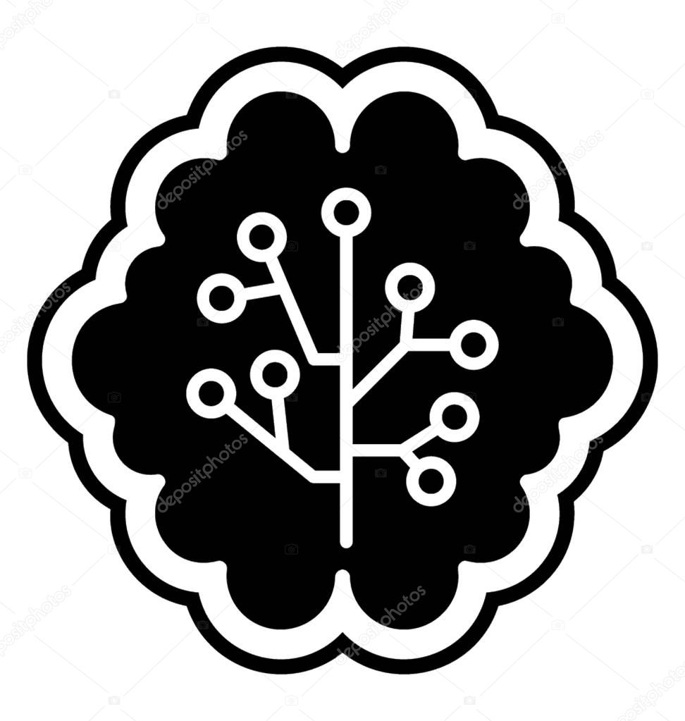 human brain with circuit print graphic conceptualizing machine learning