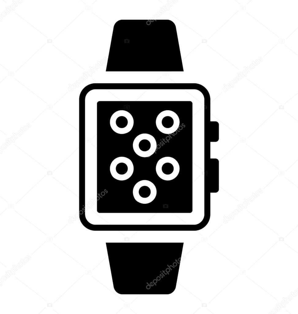 Touch screen wearable wrist watch having mini computer inside, smartwatch icon graphic