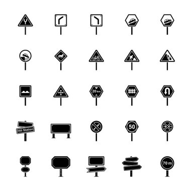 Road Signs and Junctions Glyph Vector Icons Pack icon