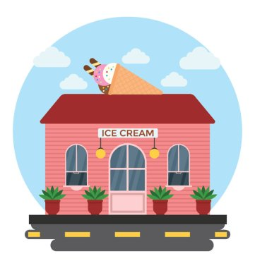 Ice cream parlour building with red brick structure