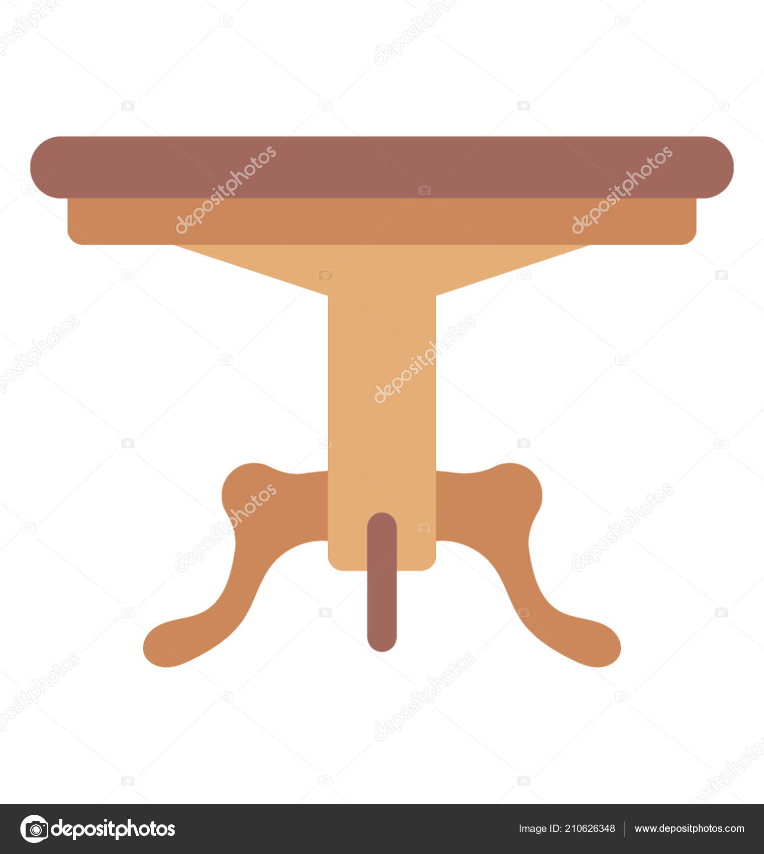 Round Coffee Table With Wooden Legs On A White Background Vector By Vectorsmarket
