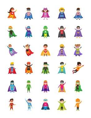Kid Superheroes Cartoon Illustrations