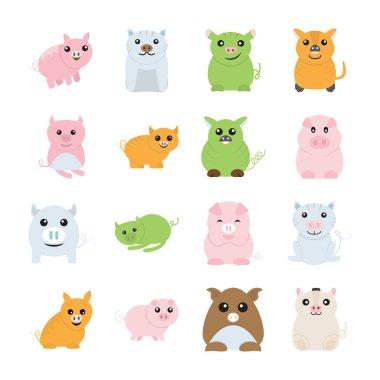 Cute pigs drawings icons
