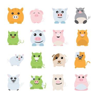 PIg animal icons set