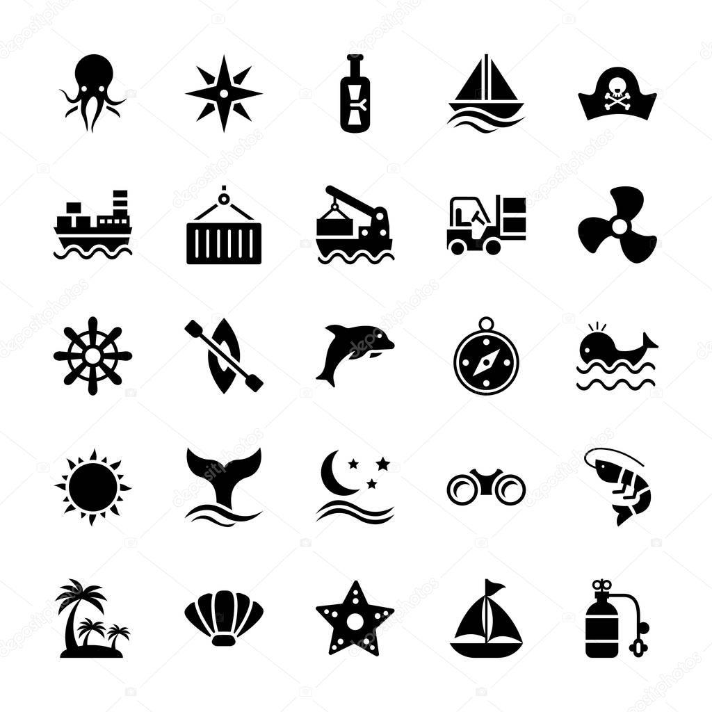 Aquatic glyph icons set