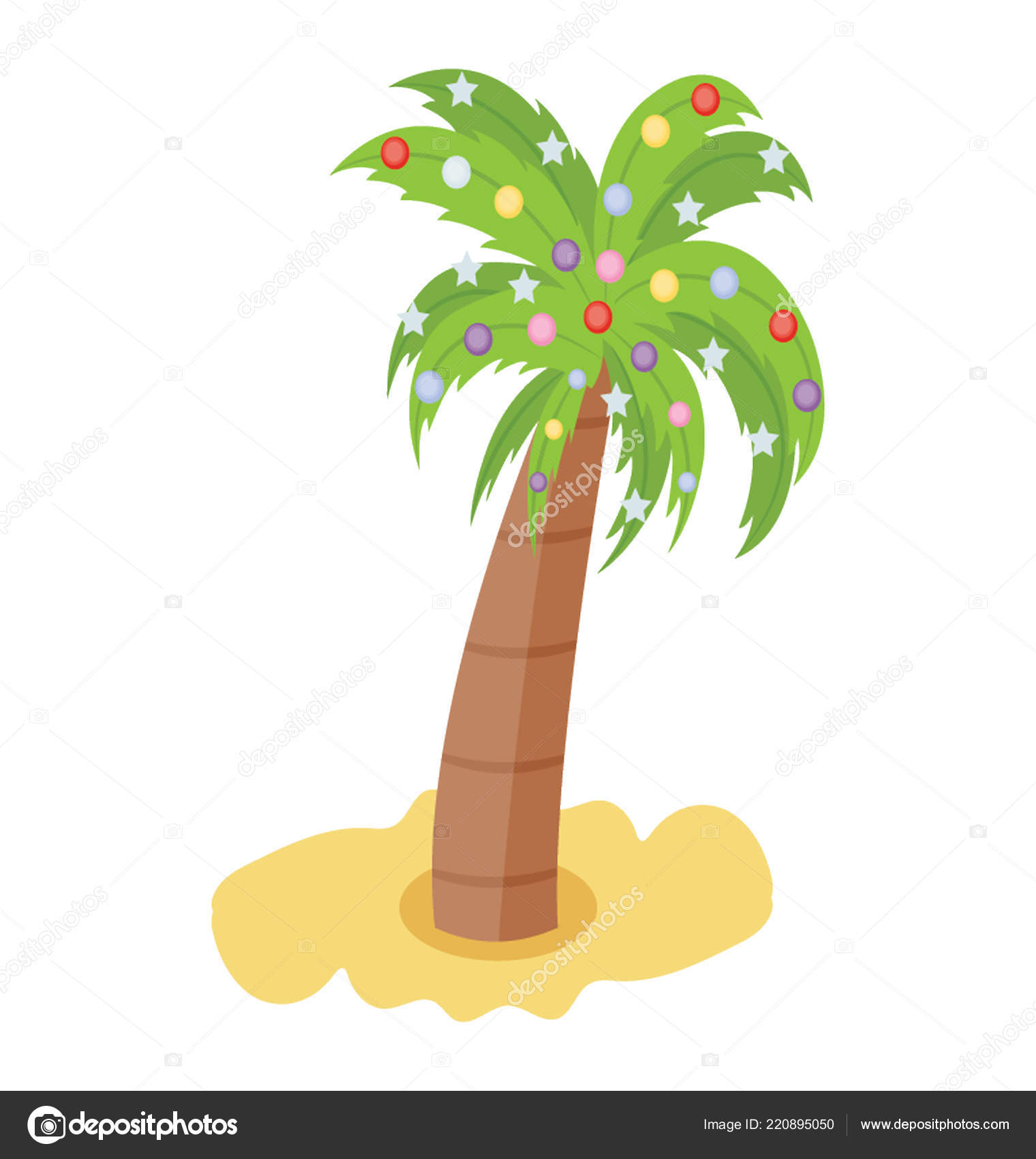 Palm Tree Decorated Christmas Decoration Items Stock Vector