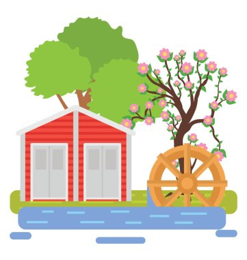 House, farmland and trees around showing farm