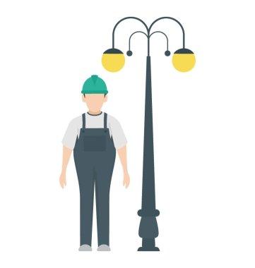 An urban electrician to repair street lights for maintenance