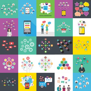 These social networking and banners  flat illustrations set is denoting to offer numerous data entry, graphical representation, planning, strategy making and company structure etc. in diverse shape of graphs and charts. Grab this pack and utilize in