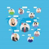 Sociální řetězec plochý ilustrace, sociální komunikace
