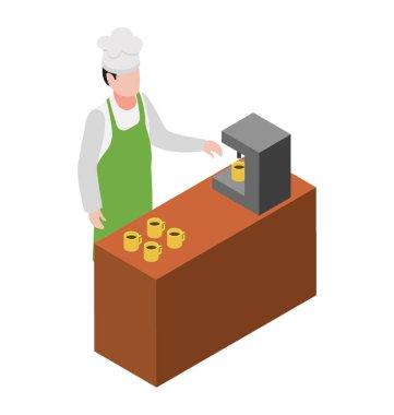 Coffee maker machine flat icon design