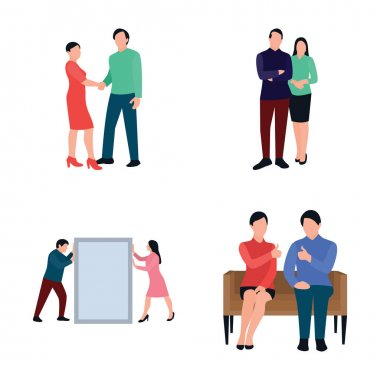 For working together and building belief in oneself here we have co working people flat icons pack. The creativity of this pack attracts the viewer's to hold and use in related field. icon