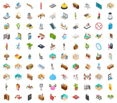 Exhilarate yourself and go outside is indispensable, so here we are submitting 100 icons encapsulating in a pack designating hotel isometric icons pack for your accessibility.