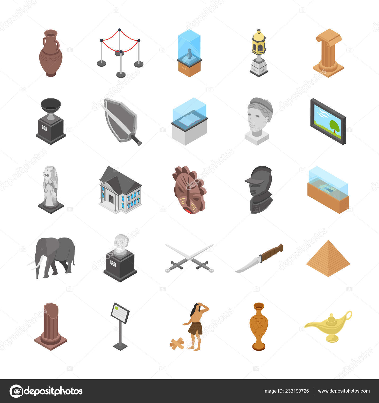 Museum Objects Display Illustrations Pack Portraying Ancient