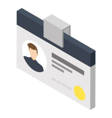 Clipped card with employee profile, candidate id card