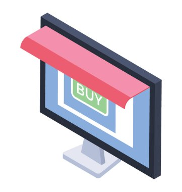 Online shopping icon, isometric design