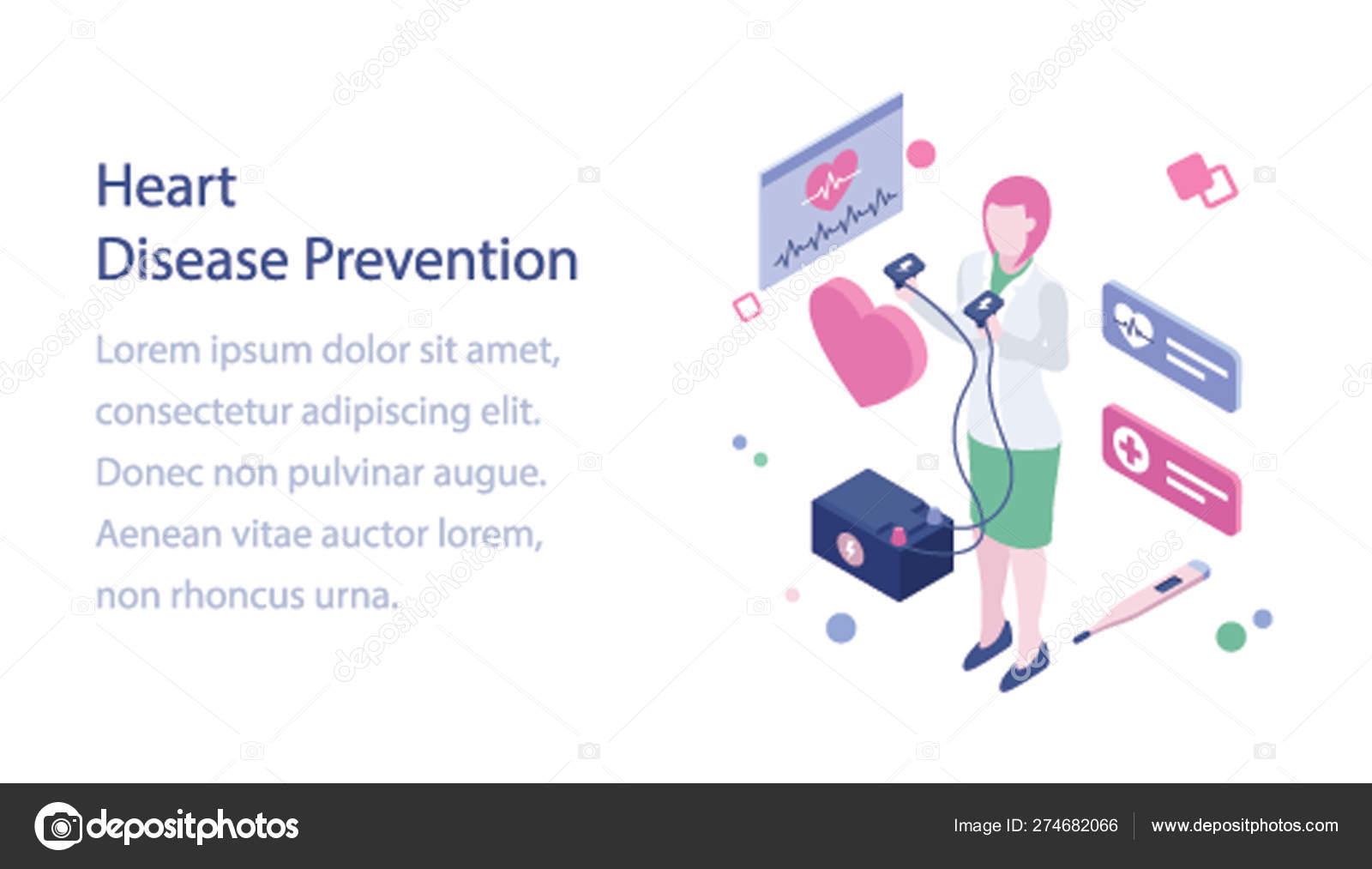 Heart Disease Prevention Isometric Illustration — Stock