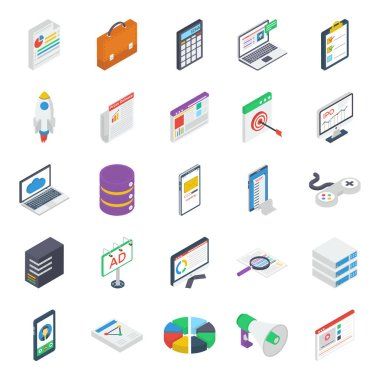 Pack Of Business Isometric Icons