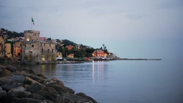 italian castle at twilight Rapallo Genoa Italian riviera night