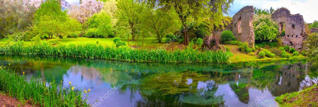 panoramic dream river enchanted castle ruins garden fairy tale nymph garden