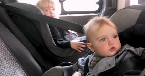 Cute girl and boy sitting in car back seat