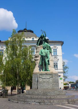 Slovenia, Ljubljana - June 19, 2018: Monument to Slovene national poet France Preseren in Ljubljana