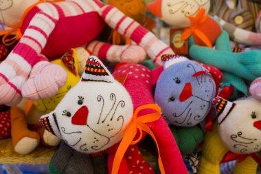 Kiev, Ukraine - August 1, 2018: Soft rag dolls cats at street market
