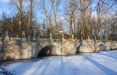 Bridge in Lazienki park at winter in Warsaw, Poland