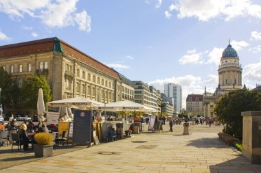 BERLIN, GERMANY - September 25, 2018: Street cafe in Old Town on Gendarmenmarkt Square in Berlin