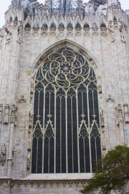 ITALY, MILAN - November 1, 2018: A window with a rosette of Milan Cathedral (Duomo di Milano) in Milan