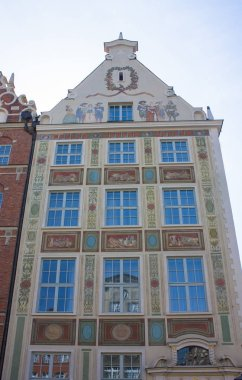 Gdansk, Poland - April 8, 2018: Beautiful buildings in Old Town of Gdansk