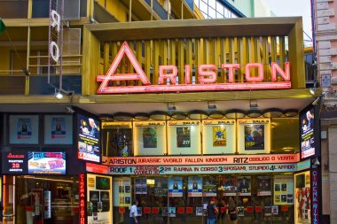 San Remo, Italy - July 27, 2018: The most famous theater - Ariston - in Italy, hosts the annual festival of Italian song in San Remo