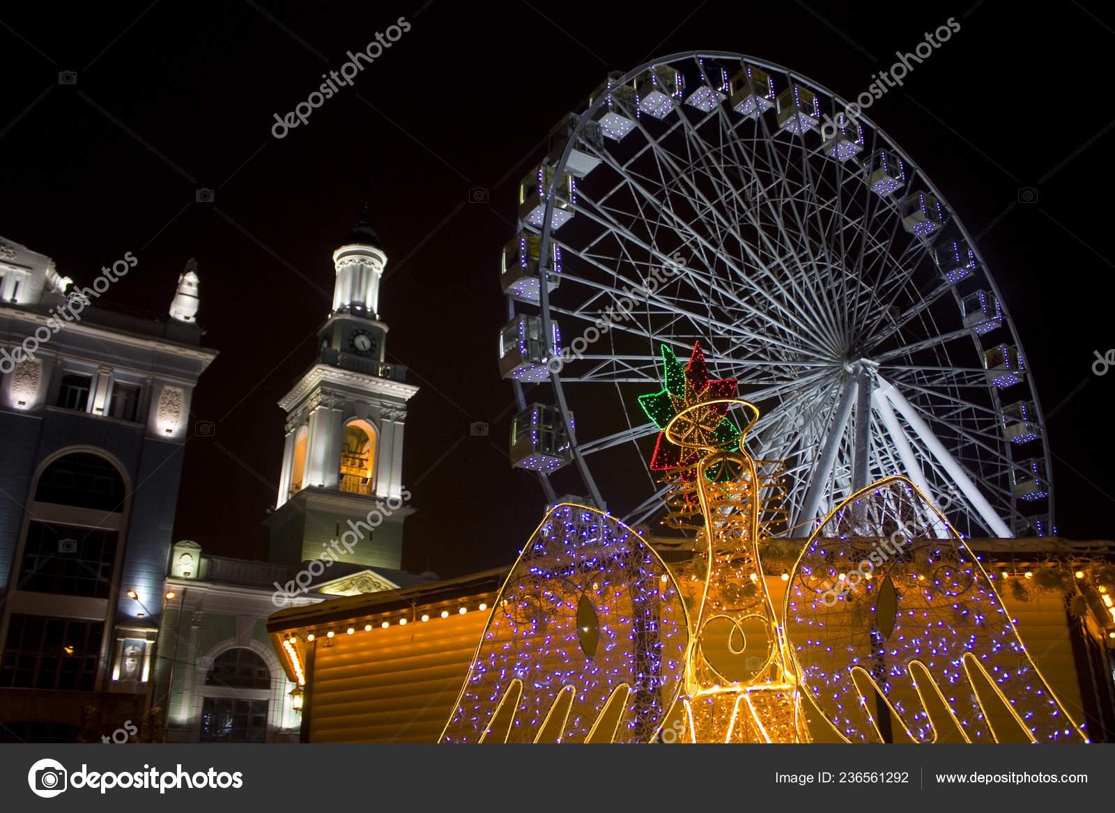Kyiv Ukraine January 6 2019 The Ferris wheel and Christmas decoration at the Kontraktova Square on Podil in Kyiv