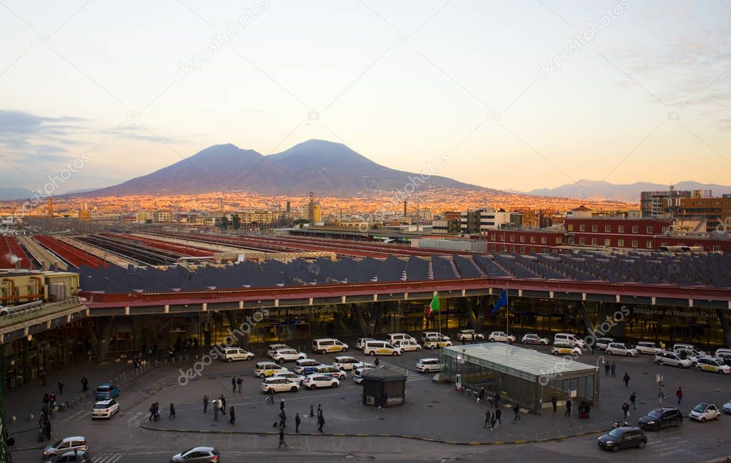 Naples, Italy - March 5, 2018: View of Napoli Central Station and Vesuvius in Naples