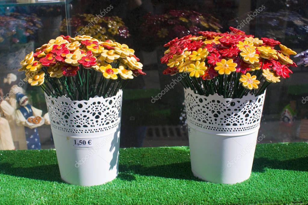 BRATISLAVA, SLOVAKIA - April 1, 2019: Ceramic souvenir flowers for sale in Bratislava