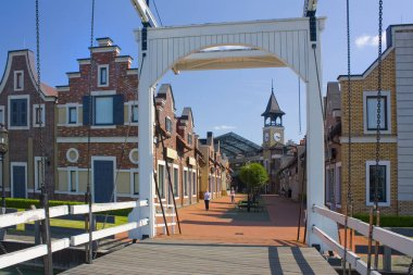 KYIV, UKRAINE - June 6, 2019: Outlet village Manufaktura is outlet shopping center looks like nice outlet village in the traditional European style in Kyiv