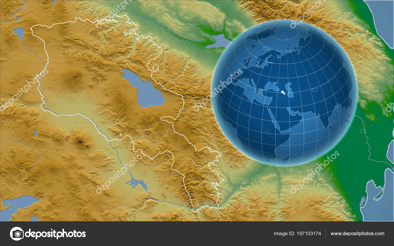 Armenia Globe Shape Country Zoomed Map Its Outline Color ...