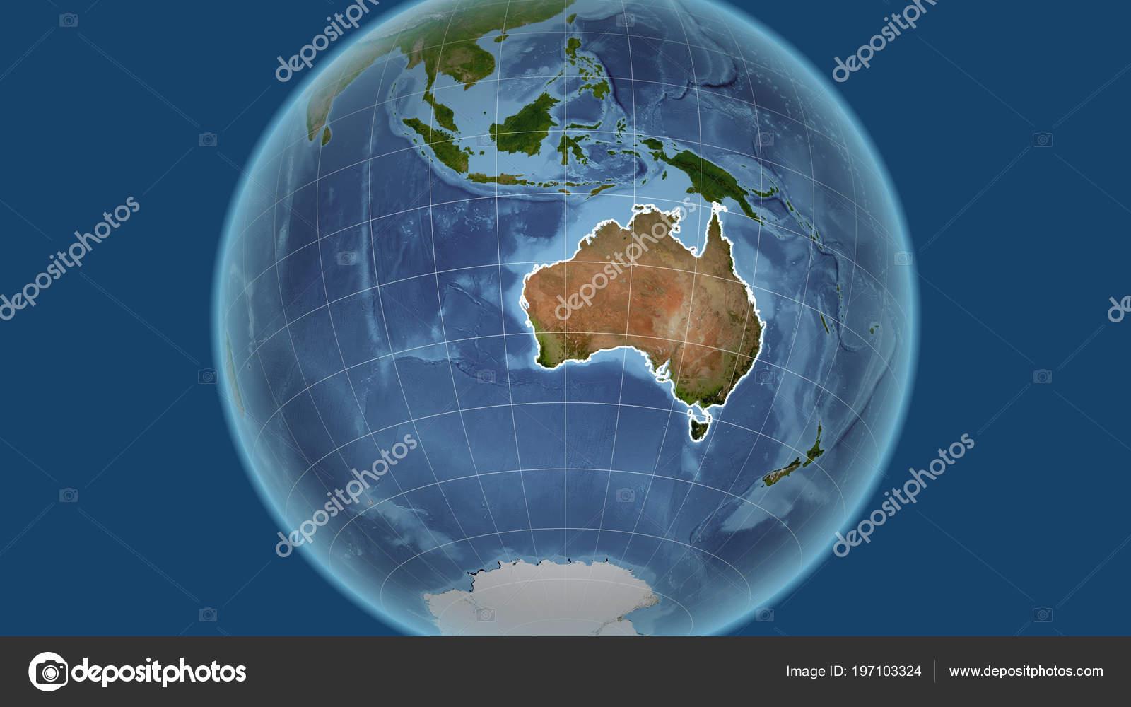 Australia Map Satellite.Australia Neighborhood Distant Perspective Outline Country Satellite