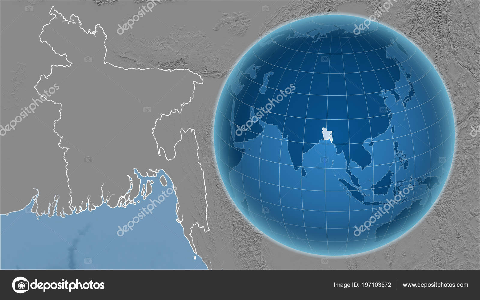 Bangladesh Globe Shape Country Zoomed Map Its Outline Bilevel