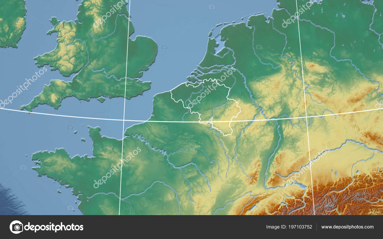 Belgium Topographic Map.Belgium Neighborhood Distant Perspective Outline Country Topographic