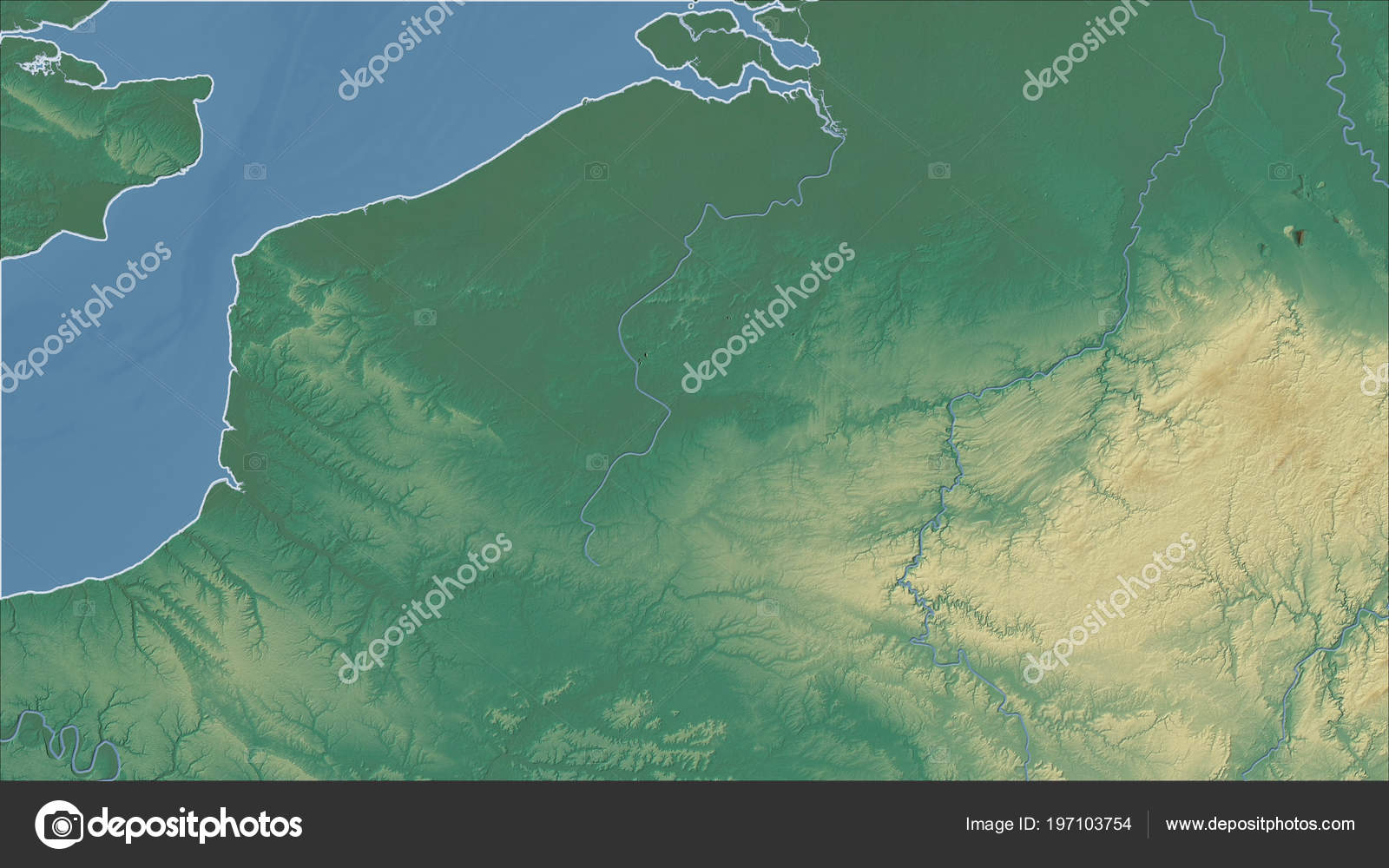 Belgium Topographic Map.Belgium Close Perspective Country Outline Topographic Relief Map