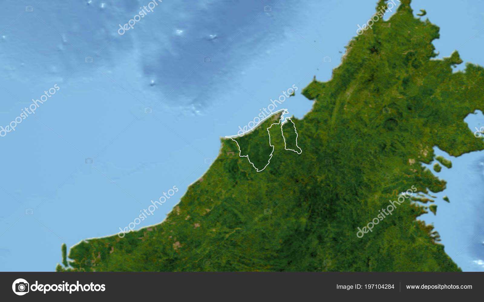 Brunei Neighborhood Distant Perspective Outline Country