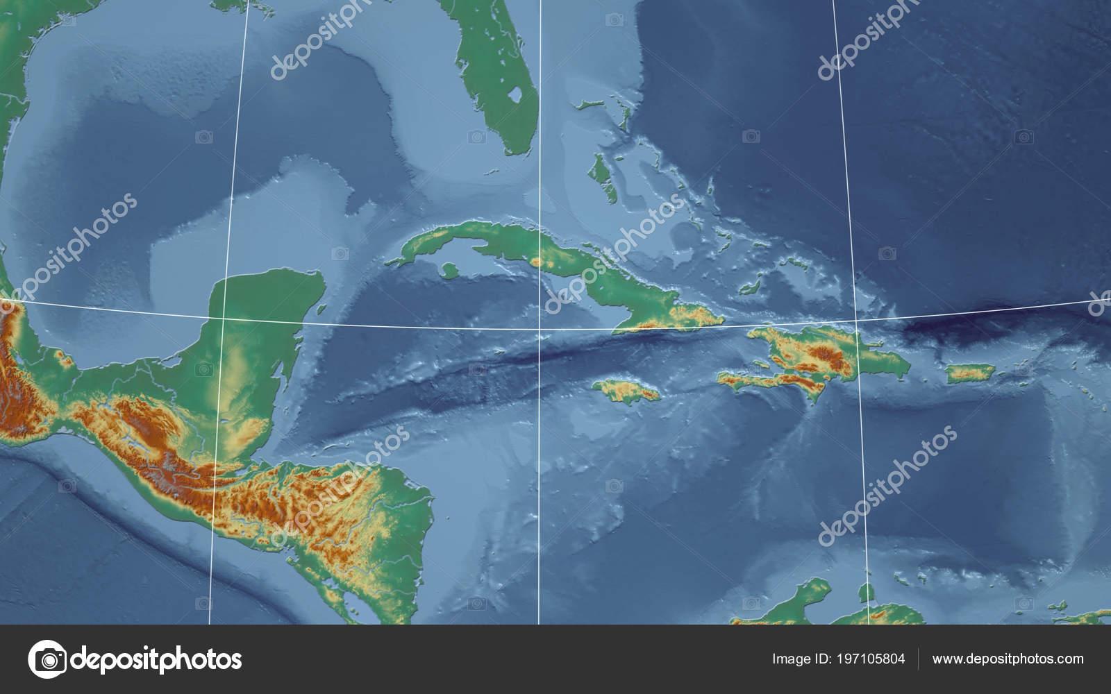 Cuba Neighborhood Distant Perspective Outline Topographic Relief Map